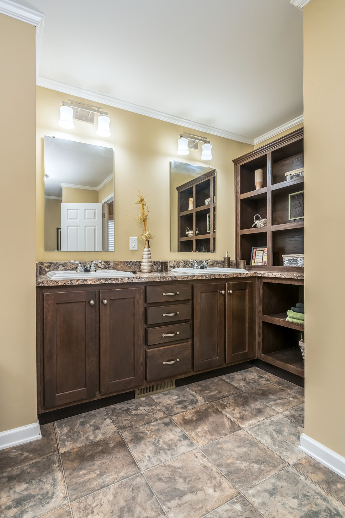 The 1779 LEGACY Master Bathroom. This Manufactured Mobile Home features 3 bedrooms and 2 baths.