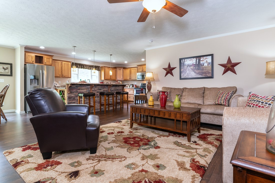 The 2980 LEGACY Living Room. This Modular Home features 3 bedrooms and 2 baths.